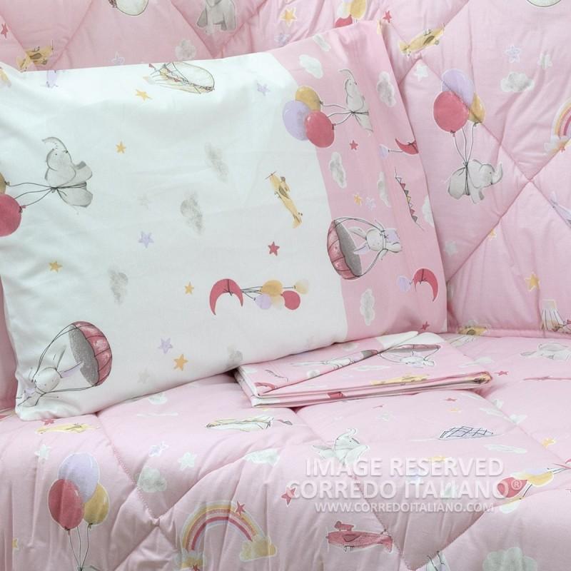 Cot bed sheet set art. Pink Cikko