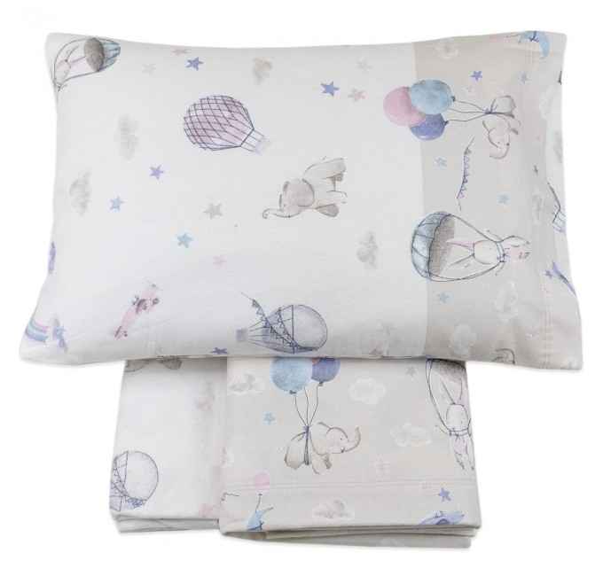 Flannel cot bed sheet set by Biancaluna art. Susy Pink