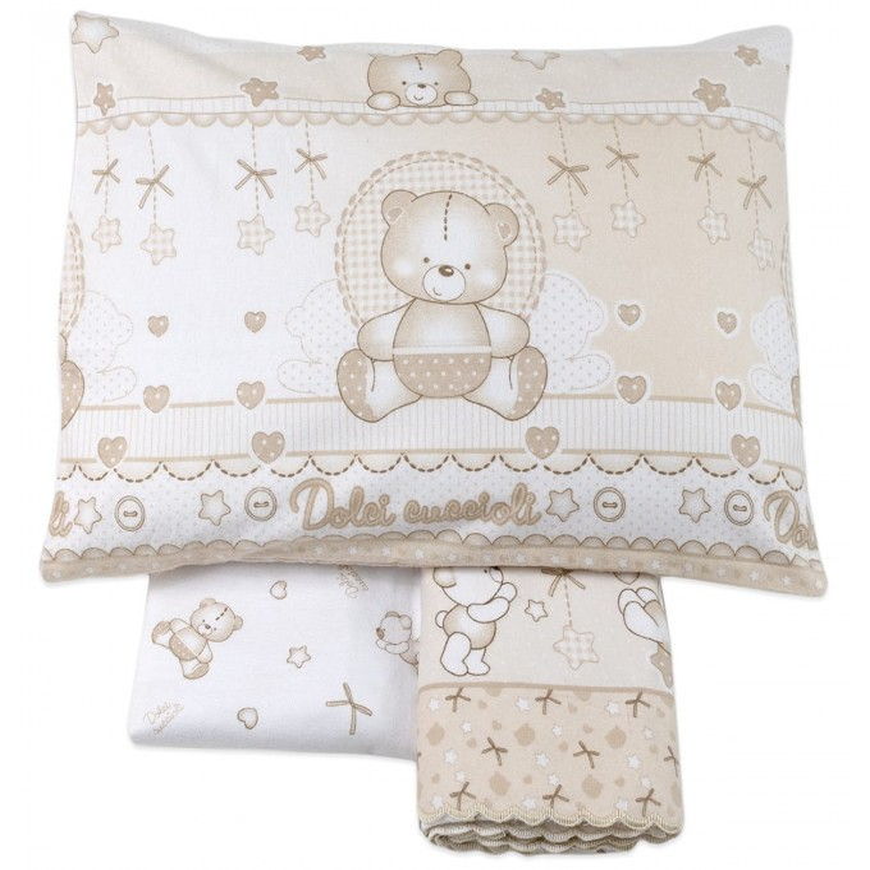 Cot bed sheet set flannel cotton art. 3972BG