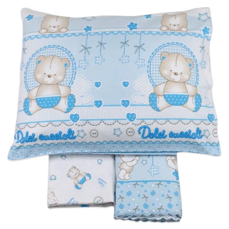 Cot bed sheet set flannel cotton art. 3972AZ