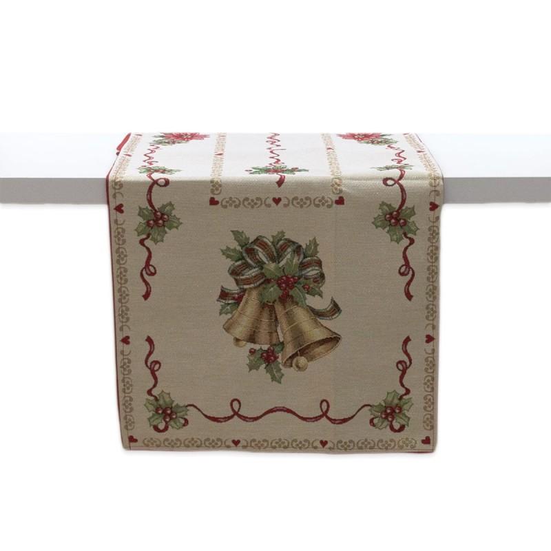 Bells - table runner Christmas Gobelin fabric 55x125 cm