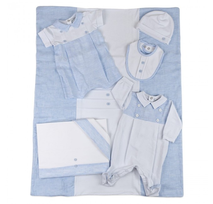 Coordinated 5 pieces baby layette cotton Le Chicche art. 3440R