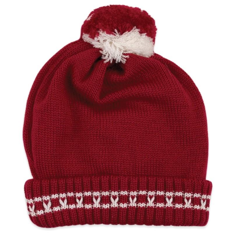 Cappellino in pura lana con pon pon