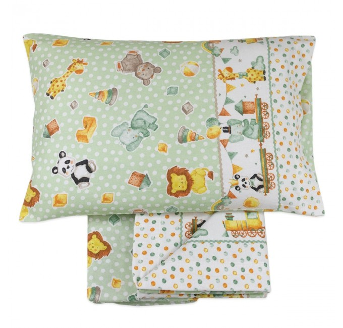 Flannel cot bed sheet set art. Chele Green