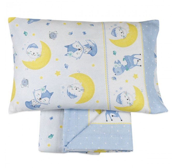 Flannel cot bed sheet set by Biancaluna art. Susy Gray