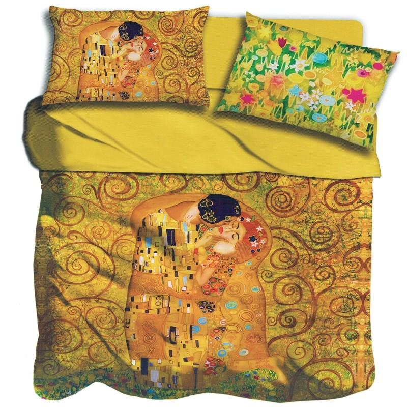 Klimt Il bacio - set lenzuola matrimoniale stampa digitale