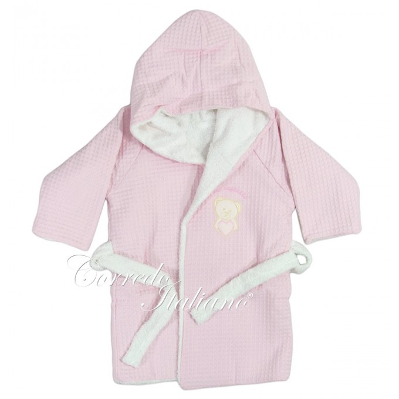 Little bear - bathrobe for baby - pink