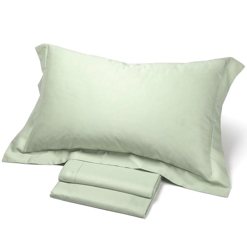 Satin - set lenzuola matrimoniale in raso di puro cotone orlo a giorno
