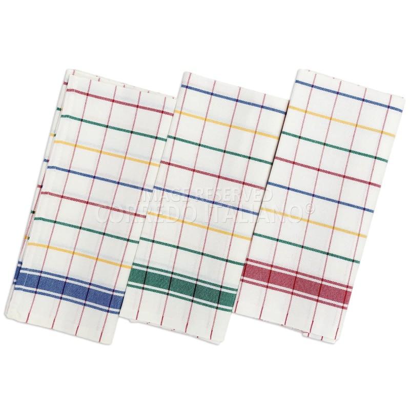 Multicolor - set 3 asciugapiatti in puro cotone 60X70 cm