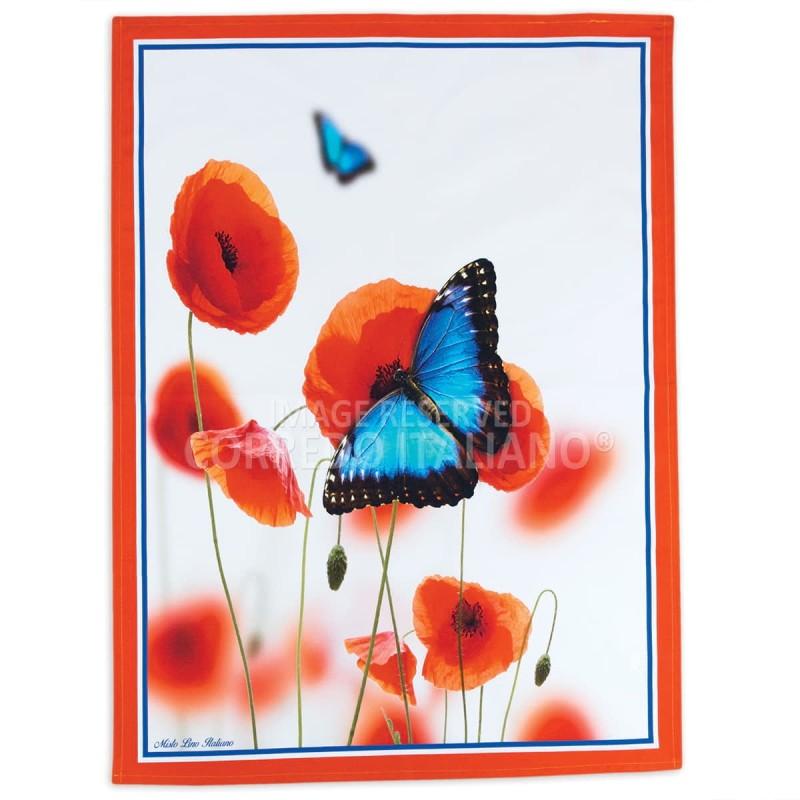 Farfalla - asciugapiatti misto lino stampa HD