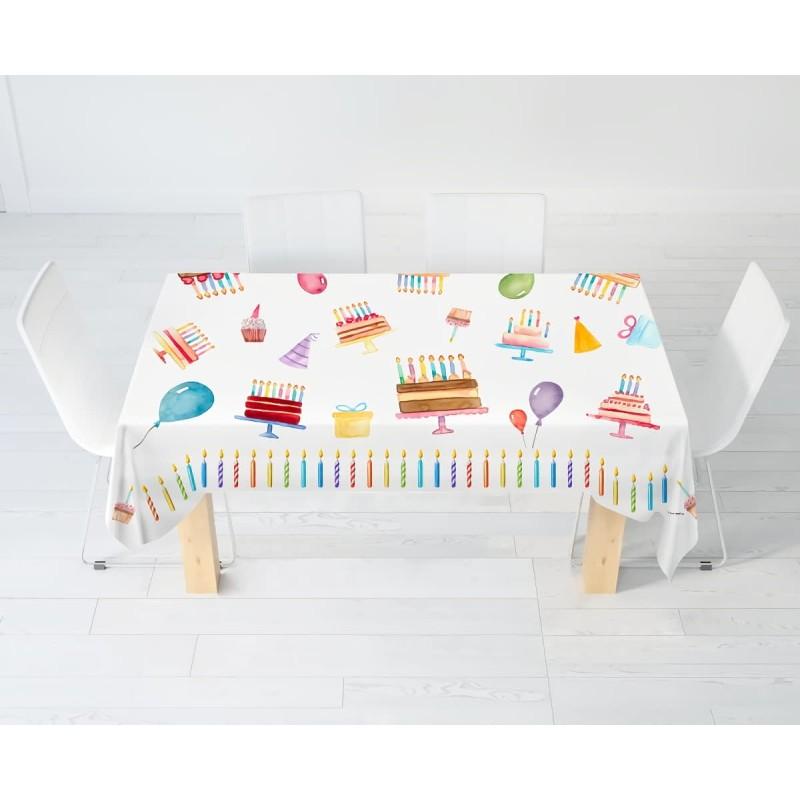 Birthday - rectangular tablecloth digital print - multi sizes