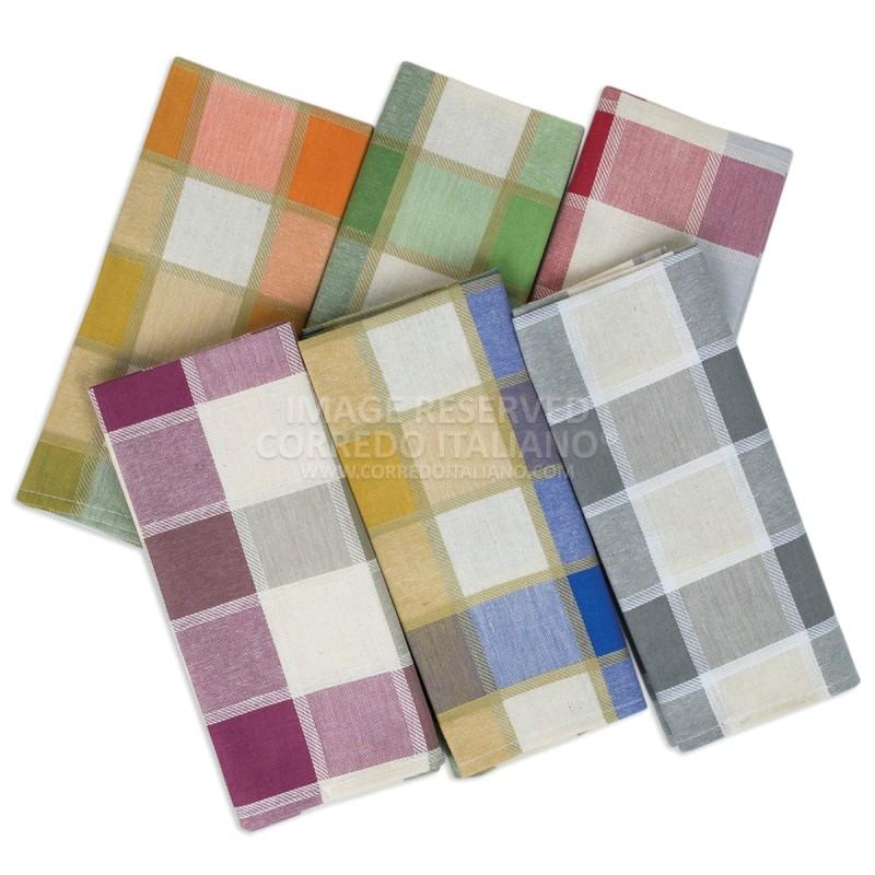 Tartan - set 6 strofinacci puro cotone 55X65 cm