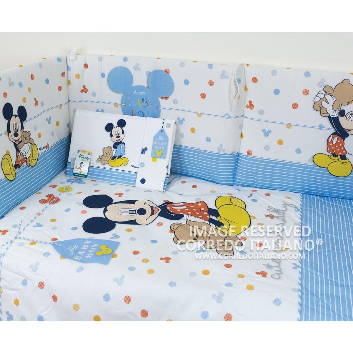 Trapunta E Paracolpi Lettino Disney.Set Copripiumino Paracolpi Lenzuola Topolino Disney Dl0212bl