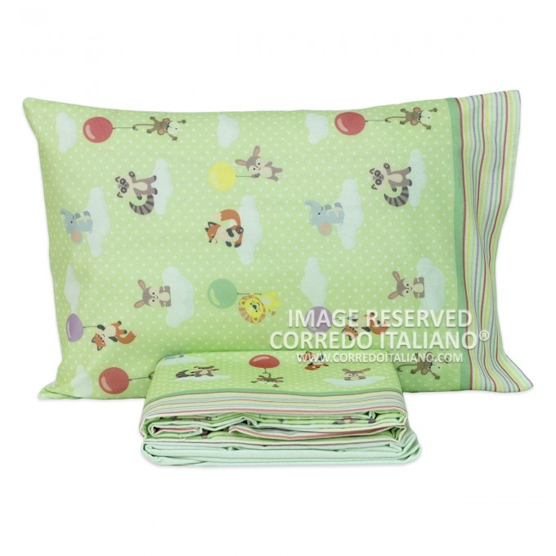 Green Puppets - cot bed sheet set flannel CI019V