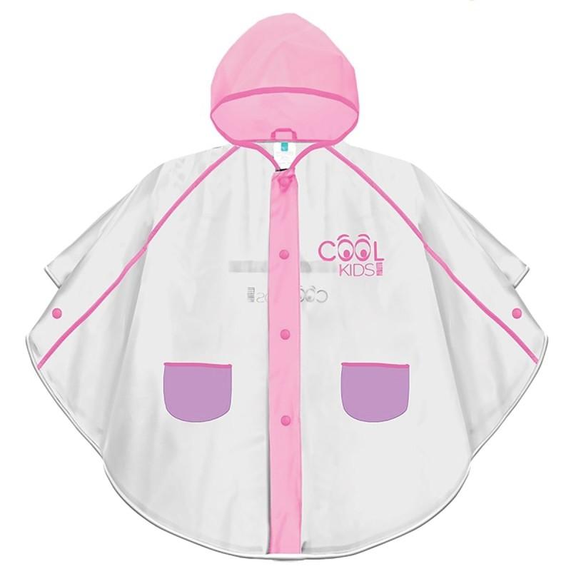 Mantellina Cool Kids catarifrangente impermeabile con cappuccio rosa