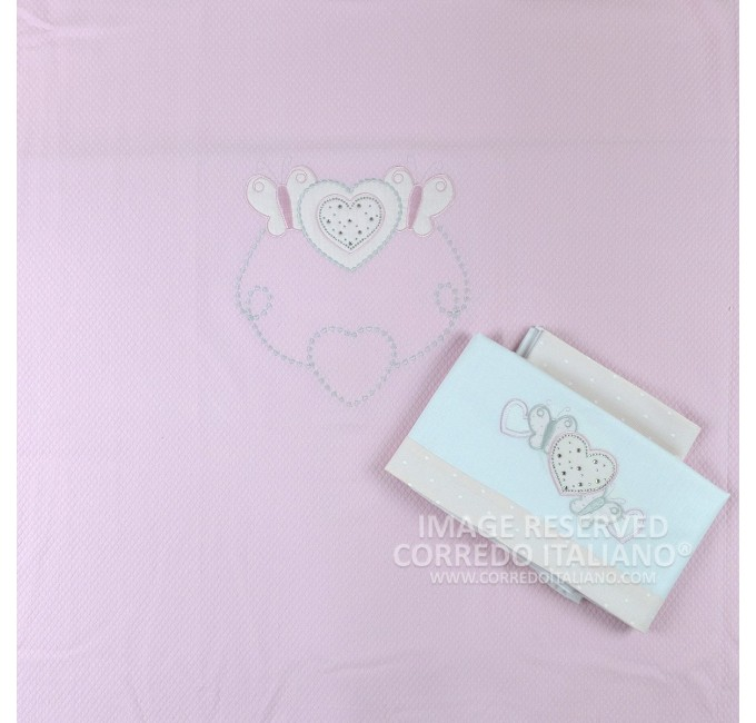 Composition for cot 4 pcs art. Strass Hearts - pink