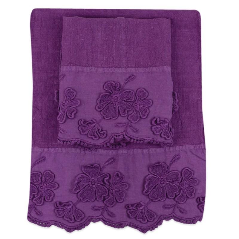 Petali - Set 1 towel and 1 guest pure linen fabric
