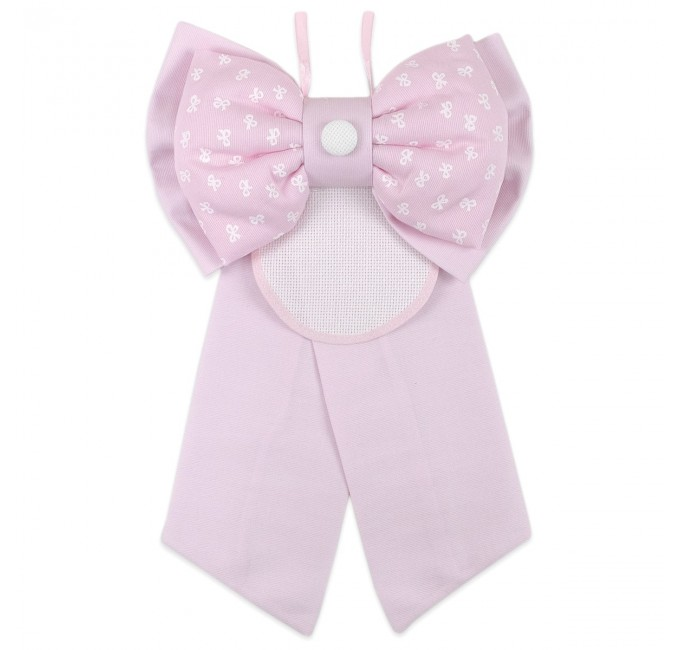 Birth bow with aida cloth to embroider art. Pink button